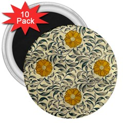 Japanese Floral Orange 3  Magnets (10 Pack)