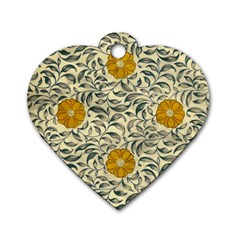 Japanese Floral Orange Dog Tag Heart (one Side)