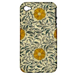 Japanese Floral Orange Apple Iphone 4/4s Hardshell Case (pc+silicone)