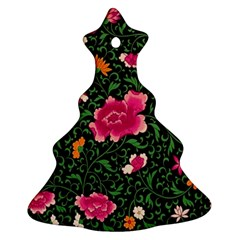 Pink Japan Floral Christmas Tree Ornament (two Sides)