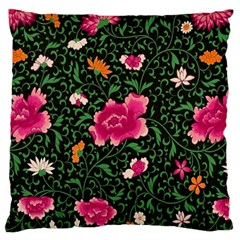 Pink Japan Floral Large Flano Cushion Case (two Sides)