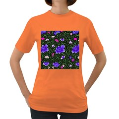 Blue  Japan Floral Women s Dark T Shirt