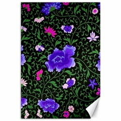 Blue  Japan Floral Canvas 12  X 18