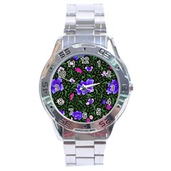 Blue  Japan Floral Stainless Steel Analogue Watch