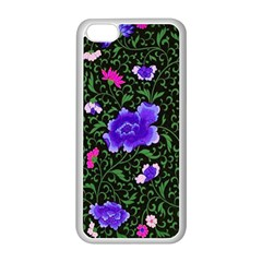 Blue  Japan Floral Apple Iphone 5c Seamless Case (white)