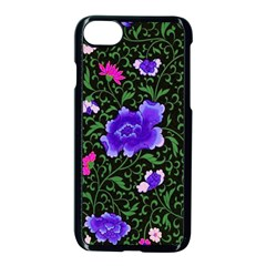 Blue  Japan Floral Apple Iphone 7 Seamless Case (black)