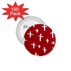 Red White Cross 1 75  Buttons (100 Pack)