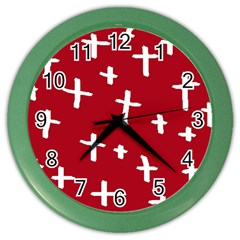 Red White Cross Color Wall Clock