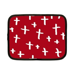 Red White Cross Netbook Case (small)