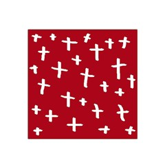 Red White Cross Satin Bandana Scarf