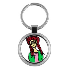 Nerdy Girl Key Chains (round)
