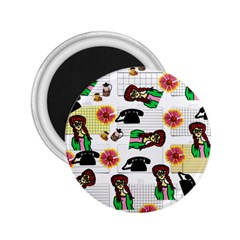 Office Girl Pattern 2 25  Magnets