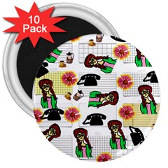 Office Girl Pattern 3  Magnets (10 Pack)