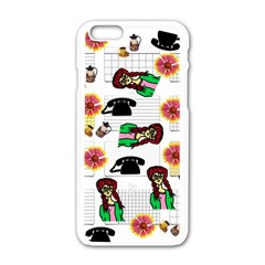 Office Girl Pattern Apple Iphone 6/6s White Enamel Case