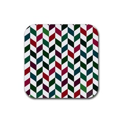 Zigzag Chevron Pattern Green Red Rubber Square Coaster (4 Pack)