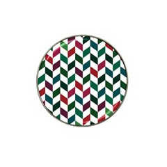 Zigzag Chevron Pattern Green Red Hat Clip Ball Marker (4 Pack)