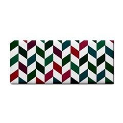 Zigzag Chevron Pattern Green Red Hand Towel