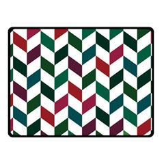 Zigzag Chevron Pattern Green Red Fleece Blanket (small)