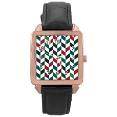 Zigzag Chevron Pattern Green Red Rose Gold Leather Watch