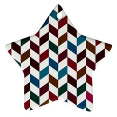 Zigzag Chevron Pattern Blue Brown Star Ornament (two Sides)