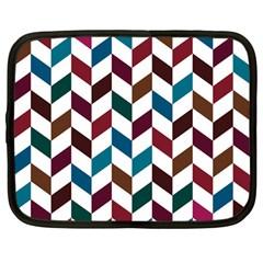 Zigzag Chevron Pattern Blue Brown Netbook Case (large)