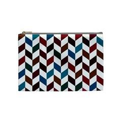 Zigzag Chevron Pattern Blue Brown Cosmetic Bag (medium) by snowwhitegirl