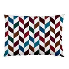 Zigzag Chevron Pattern Blue Brown Pillow Case (two Sides)