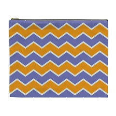 Zigzag Chevron Pattern Blue Orange Cosmetic Bag (xl)