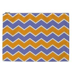 Zigzag Chevron Pattern Blue Orange Cosmetic Bag (xxl)