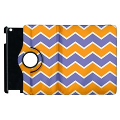 Zigzag Chevron Pattern Blue Orange Apple Ipad 2 Flip 360 Case