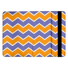 Zigzag Chevron Pattern Blue Orange Samsung Galaxy Tab Pro 12 2  Flip Case