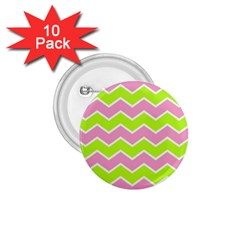 Zigzag Chevron Pattern Green Pink 1 75  Buttons (10 Pack)
