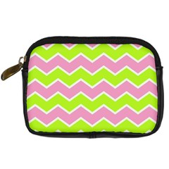 Zigzag Chevron Pattern Green Pink Digital Camera Leather Case
