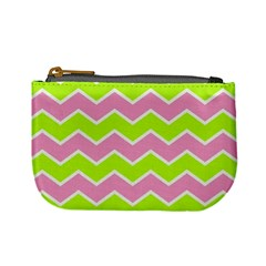 Zigzag Chevron Pattern Green Pink Mini Coin Purse