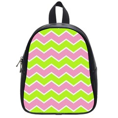 Zigzag Chevron Pattern Green Pink School Bag (small)