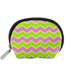 Zigzag Chevron Pattern Green Pink Accessory Pouch (small)