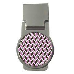 Zigzag Chevron Pattern Pink Brown Money Clips (round)