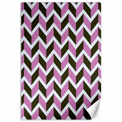 Zigzag Chevron Pattern Pink Brown Canvas 12  X 18