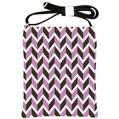 Zigzag Chevron Pattern Pink Brown Shoulder Sling Bag