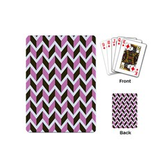 Zigzag Chevron Pattern Pink Brown Playing Cards (mini)