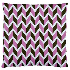 Zigzag Chevron Pattern Pink Brown Large Cushion Case (one Side)