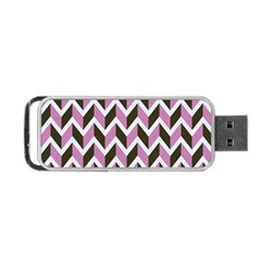Zigzag Chevron Pattern Pink Brown Portable Usb Flash (two Sides)