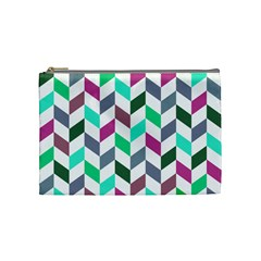 Zigzag Chevron Pattern Aqua Purple Cosmetic Bag (medium)