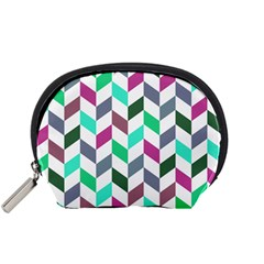 Zigzag Chevron Pattern Aqua Purple Accessory Pouch (small)