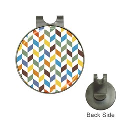 Zigzag Chevron Pattern Orange Blue Hat Clips With Golf Markers
