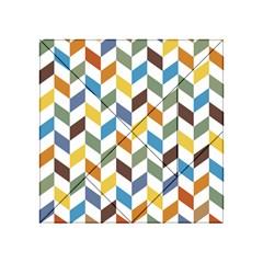 Zigzag Chevron Pattern Orange Blue Acrylic Tangram Puzzle (4  X 4 )