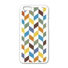 Zigzag Chevron Pattern Orange Blue Apple Iphone 6/6s White Enamel Case