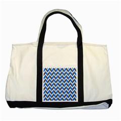 Zigzag Chevron Pattern Blue Grey Two Tone Tote Bag