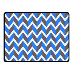 Zigzag Chevron Pattern Blue Grey Fleece Blanket (small)