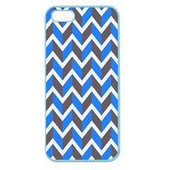 Zigzag Chevron Pattern Blue Grey Apple Seamless Iphone 5 Case (color)